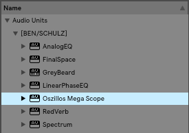 Oszillos Mega Scope in the plugin list of Ableton Live